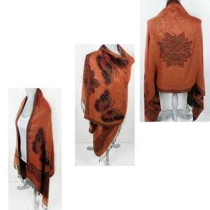 100% Pashmina Tribal Fringe Butterfly Scarf Shawl